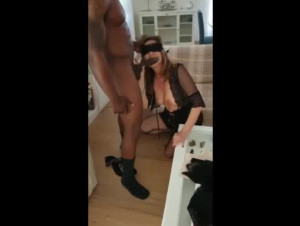 Masked Italian Hotwife Worshiping Her Black Lover